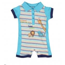 Barboteuse motif animaux bébé garçon bleu