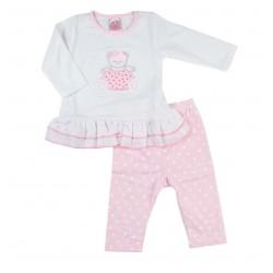 Pyjama deux pièces nounours bébé fille blanc