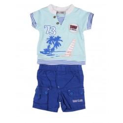Ensemble deux pièces tee shirt et short bébé garçon bleu