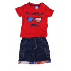 Ensemble deux pièces Mr American bébé garçon rouge