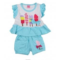 Ensemble deux pièces tee shirt et short motif glaces bébé fille bleu