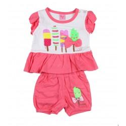 Ensemble deux pièces tee shirt et short motif glaces bébé fille rose