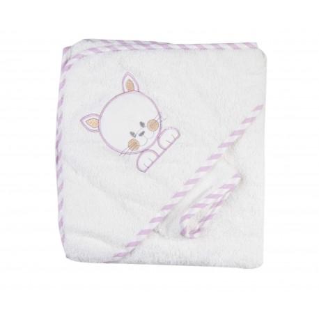 Parure de bain souris blanc violet bébé fille
