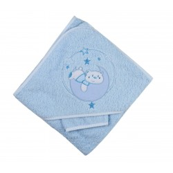 Parure de bain nounours bleu bébé garçon