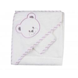 Parure de bain nounours blanc/violet bébé fille