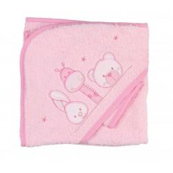 Parure de bain girafe lapin et ours rose bébé fille