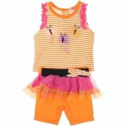 Ensemble trois pièces débardeur, jupe et legging bébé fille orange