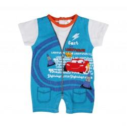 Barboteuse Disney Cars bébé garçon bleu royal 100% coton