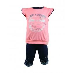 Ensemble deux pièces tee shirt et legging Lee Cooper bébé fille corail