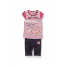 Ensemble deux pièces tee shirt et pantacourt Lee Cooper bébé fille rose