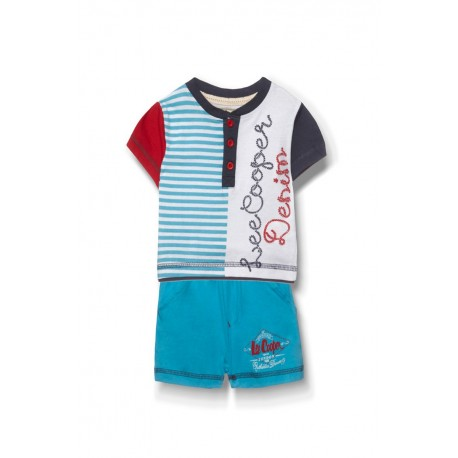 Ensemble deux pièces tee shirt et short Lee Cooper bébé garçon bleu