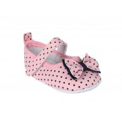 Ballerines à pois avec nœud papillon bébé fille rose