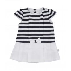 Robe à rayures effet marinière bébé fille blanc et bleu