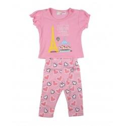 """Ensemble deux pièces tee shirt et legging """"carnaval de Paris"""" bébé fille rose"""