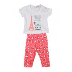 """Ensemble deux pièces tee shirt et legging """"carnaval de Paris"""" bébé fille blanc"""