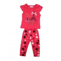Ensemble deux pièces tee shirt et legging motif tour eiffel bébé fille fuschia