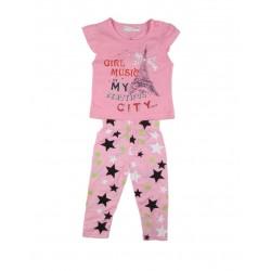 Ensemble deux pièces tee shirt et legging motif tour eiffel bébé fille rose
