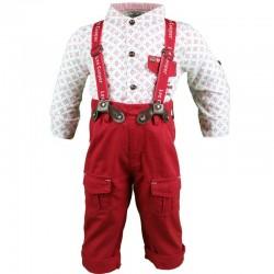 Ensemble deux pièces chemise et pantalon à bretelle Lee Cooper bébé garçon rouge