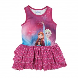 Robe Reine des neiges fille 100% coton fuschia