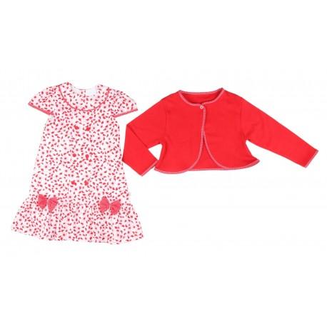 Ensemble 2 pièces robe et gilet bébé fille rouge