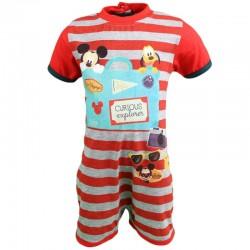 Barboteuse Mickey bébé garçon gris et rouge