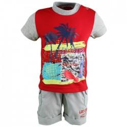 Ensemble Lee Cooper t-shirt et short salopette bébé garçon gris et rouge