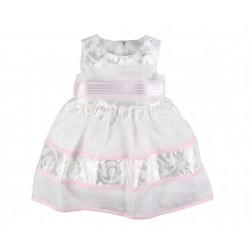 Robe de cérémonie baptême ivoire rose bébé fille