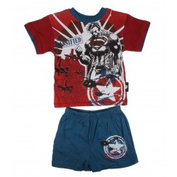 Ensemble Superman t-shirt et short garçon 100% coton rouge