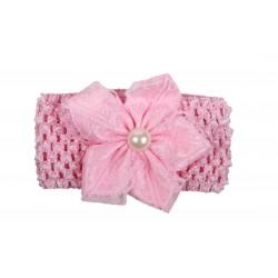 Bandeau de cérémonie à fleur et perle fille rose