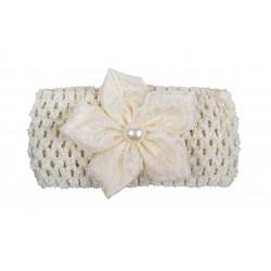Bandeau de cérémonie à fleur et perle fille ivoire