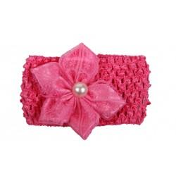 Bandeau de cérémonie à fleur et perle fille fuschia