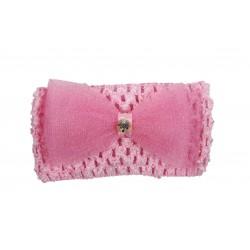 Bandeau de cérémonie à fleur et strasse fille rose