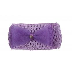 Bandeau de cérémonie à fleur et strasse fille violet