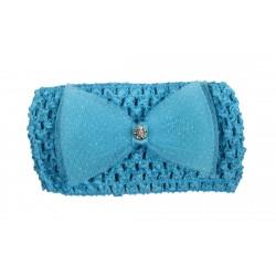 Bandeau de cérémonie à fleur et strasse fille bleu