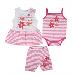 Ensemble trois pièces robe, body et short bébé fille 100% coton rose