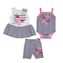 Ensemble trois pièces robe, body et short bébé fille 100% coton bleu marine