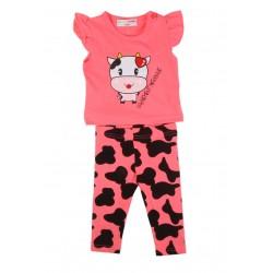 Ensemble bébé fille motif vachette rose