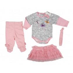 Ensemble 4 pièces bandeau,jupe, body, et pantalon bébé fille rose et gris