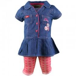 Ensemble Lee Cooper robe et un legging bébé fille rose et bleu