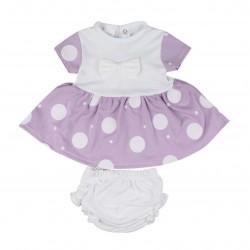 Robe à nœud et à pois avec bloomer bébé fille violet