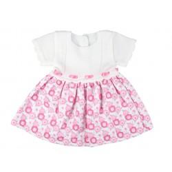 Robe bi matière à fleurs bébé fille blanc et rose