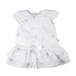 Robe à nœud et à fleur bébé fille blanc et gris