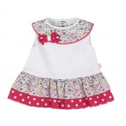 Robe à nœud et à fleur bébé fille blanc et rose