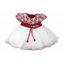 Robe de cérémonie baptême rouge et blanc froufrou bébé fille