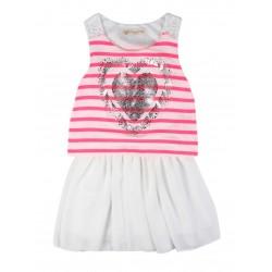 Robe rayé motif cœur blanc et rose fille fabrication francaise