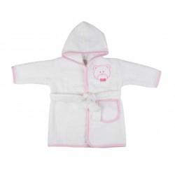 Peignoir ourson bébé fille blanc et rose