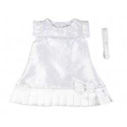 Robe de cérémonie et baptême avec bandeau bébé fille blanc