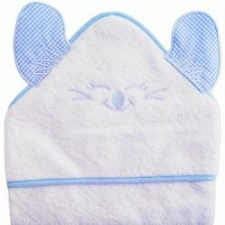 Cape de bain souris brodé bébé garçon blanc bleu