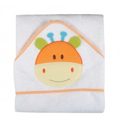 Parure de bain motif animal blanc/orange bébé 100% coton