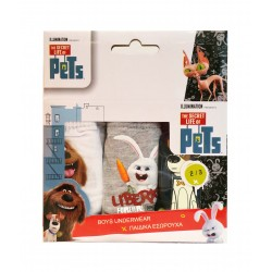 The secret life of pets - lot de trois slips - garcons - blanc gris et noir